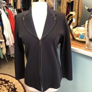 Misook Dark Charcoal Zip Jacket Size Medium